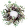 """24"""" Gold Glitter Red Holly and Frosted Pine Cone Christmas Wreath - Unlit - 31364347"""