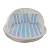 "68"" White, Blue and Green Striped Inflatable Floating Swimming Pool Aqua Sofa Lounge Raft - 32233238"