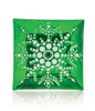 """13"""" Square Green Decorative Glass Christmas Plate with White Iridescent Snowflake Design - 31105969"""