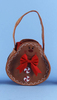 """12"""" Brown Gingerbread Man Basket Pouch Filled w/ Christmas Red Guest Hand Towels - 21377963"""