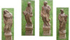 Set of 4 Cast Stone Four Seasons Outdoor Garden Statues with Pedestals - 15733768