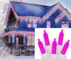 Set of 70 Hot Pink LED M5 Icicle Christmas Lights - White Wire - 25244407