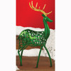 "Pack of 2 Small Green Reindeer Christmas Figures with Gold Glitter Antlers 10.5"" - 12962746"
