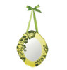 """Sugared Fruit Green Velveteen Floral Overlay Mirror Wall Decoration 10"""" - 11223108"""
