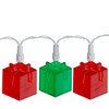 Set of 20 Red and Green LED Present Novelty Christmas Lights - White Wire - 23113458