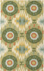 2' x 3' Aztec Circles Pea Green and Orange Hand Hooked Area Throw Rug - 30784419