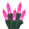Set of 70 Pink LED M5 Mini Christmas Lights - Green Wire - 13172257
