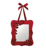 """Sugared Fruit Red Velveteen Floral Overlay Mirror Wall Decoration 10"""" - 11223143"""