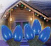 Set of 25 Ceramic Blue C7 Christmas Lights - Green Wire - 6463901