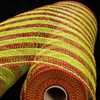 "Lime Green and Red Striped Deco Mesh Craft Ribbon 21"" x 20 Yards - 31391046"