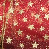 "Sheer Metallic Red and Gold Glitter Stars Wired Craft Ribbon 2"" x 40 Yards - 31389718"