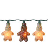 Set of 10 Gingerbread Man Novelty Christmas Lights - Green Wire - 6611925