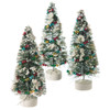 """Pack of 3 Flocked Pine Multi-Colored Garland Table Top Christmas Trees 7"""" - 30782454"""