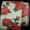 """Cream Satin with Red Glitter Rose Print Wired Craft Ribbon 4"""" x 20 Yards - 31388347"""