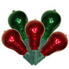 Set of 10 Transparent Red and Green PS50 Edison Style Christmas Lights - Green Wire - 31302163