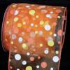 "Orange and Yellow Tuffts Polka Dot Orange Sheer Wired Craft Ribbon 4"" x 20 yards - 31385868"