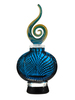"13.5""  Iridescent Bright Blue Swirly Hand Blown Glass Perfume Bottle with Decorative Stopper - 31555461"