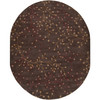 8' x 10' Fair Enoki Wine Red and Coffee Bean Brown Oval Wool Area Throw Rug - 28462732