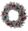 """24"""" Artificial Mix Candy Red and Green Flocked and Decorated Christmas Wreath- Unlit - 31084580"""