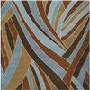 4' x 4' Mediterranean Jungle Contemporary Blue and Brown Wool Area Throw Rug - 28454902