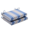 Pack of 2 Outdoor Patio Furniture Chair Seat Cushions - Blue & Tan Stripe - 13815515