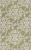 9' x 13' Damask Vines Light Olive Green & White Hand Tufted Plush Area Throw Rug - 30873876