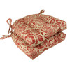 """Set of 2 Rustic Red and Tan Damask Tufted Indoor Chair Cushions 16"""" - 30951240"""