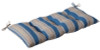 Outdoor Patio Furniture Tufted Bench Loveseat Cushion - Blue & Tan Stripe - 13815696
