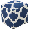 """18"""" Cobalt Blue and Ivory Spaded Spheres Wool Square Pouf Ottoman - 30894587"""