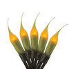 Set of 50 Fireside Amber Micro Silicone Flame Bulb Christmas Lights - Brown Wire - 30782867