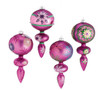 """Set of 4 Dazzling Pink Snowflake Design Glass Finial Christmas Ornaments 7"""" - 17029911"""