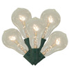 Set of 10 Transparent Clear PS50 Edison Style Christmas Lights - Green Wire - 31302135
