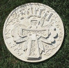 "11.75"" Religious ""Faith"" Scrolling Cross Decorative Round Garden Patio Stepping Stone - 31364455"