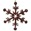 "11.5"" Country Cabin 6-Point Red Metal Christmas Star Ornament with Jingle Bells - 30851766"
