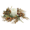 "16"" Golden Brown Ribbon, Berry & Pine Cone Artificial Christmas Pillar Candle Ring - 31353238"