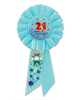 "Pack of 6 Blue ""21 and Terrific"" Birthday Party Celebration Rosette Ribbons 6.5"" - 31559327"