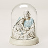 """7"""" Gold, Off-White, and Blue Holy Family Religious Sculpture with Glass Cloche - 32035315"""