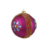 "Flower Power Fuschia Gemstone Shatterproof Christmas Ball Ornament 4"" (100mm) - 31093607"