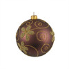 """Matte Brown with Floral Design Shatterproof Christmas Ball Ornament 4"""" (100mm) - 31093526"""