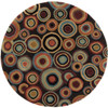 3' Seeing Spots Cameo Blue and Plum Wine Hand Tufted Wool Round Area Throw Rug - 28453599