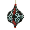 """5"""" Blue and Black Leopard Print with Glitter Onion Christmas Ornament - 18365145"""