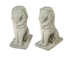 Pack of 2 Regal Sitting Lion Cast Stone Concrete Outdoor Garden Statues - 31369711