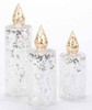 Set of 3 Silver Glitter Sequined Glass Christmas Pillar Candles - 16160616