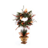 "28"" Burnt Orange Shatterproof Ornament Christmas Wreath Topiary Tree - Unlit - 31364370"