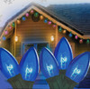 Set of 25 Transparent Blue C7 Christmas Lights - Green Wire - 6463971