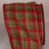 "Cherry Red, Lime Green and Ivory White Plaid Wired Craft Ribbon 4"" x 20 Yards - 31392422"