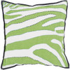 """20"""" Lime Green, Navy Blue and White Zebra Print Square Decorative Throw Pillow - Down Filler - 31080048"""