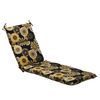 """72.5"""" Eco-Friendly Black and Yellow Floral Outdoor Chaise Lounge Cushion - 28690706"""