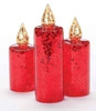 Set of 3 Red Glitter Sequined Glass Christmas Pillar Candle Figures - 16160641