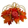 "12"" Autumn Harvest Orange Maple Leaf & Berry Thanksgiving Pumpkin Decoration - 32277325"